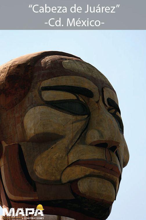 """#BuenosDías: """"Cabeza de Juárez"""", mide 13m de altura por 9m de ancho y con 6 toneladas de peso, tomando forma con laminas de acero varilla y alambron, edificio construdio por el Arq. Lorenzo Carrasco. #México"""