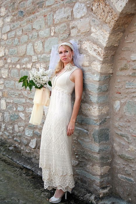 Красивое ажурное платье спицами