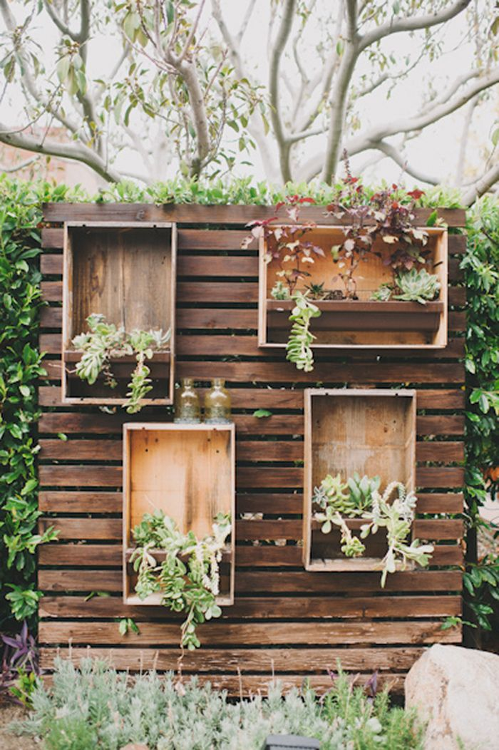 Garden Wall Ideas garden mirrorsi would have never thought of this but Repurposed Crates With Succulents For An Outdoor Party Or Wedding