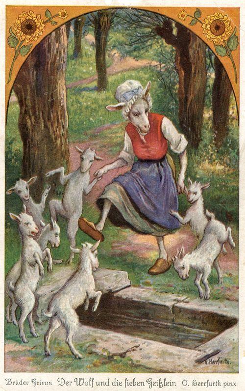 Oskar Herrfurth (German, 1862–1934). Der Wolf und die sieben Geißlein (The Wolf and the Seven Little Goats). Postkartenserie nach dem Märche: