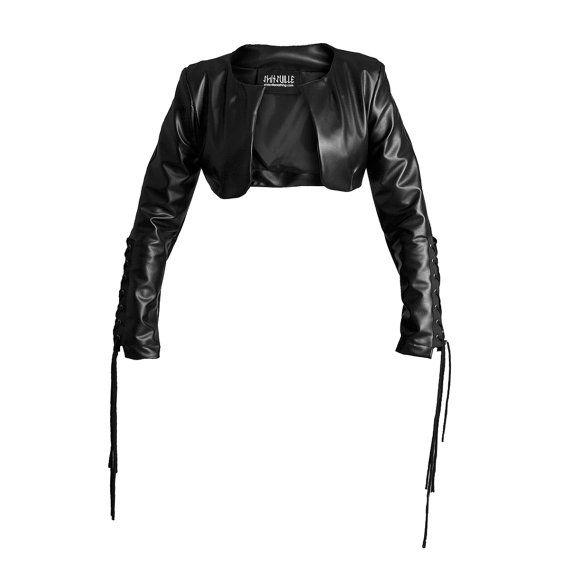 Black eco leather jacket bolero biker shrug gothic by Sclothing