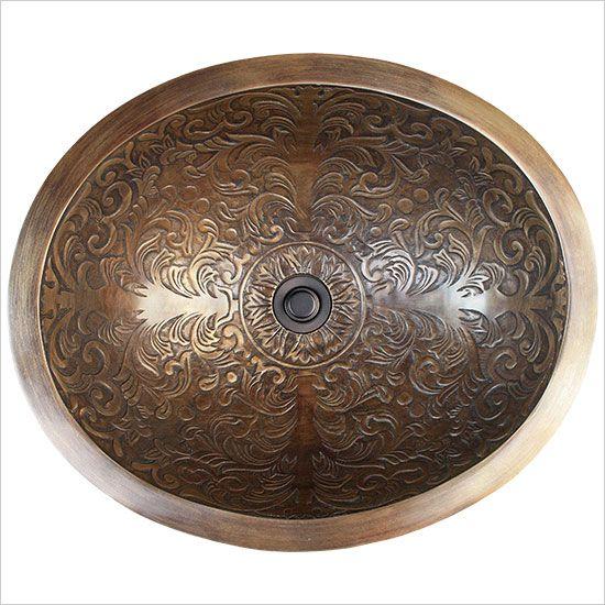 Linkasink Bathroom Sinks - Bronze - B018-UB Brocade Oval Bowl - Unlacquered Brass