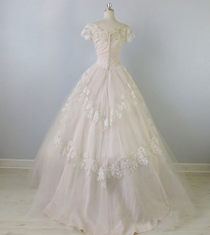 1950s Wedding Dress / Blush Pink Wedding Dress / Sweet Love