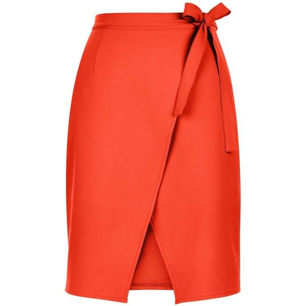 New Look Bright Orange Tie Wrap Front Skirt ($24) ❤ liked on Polyvore featuring skirts, spicy orange, bright skirts, evening skirts, red skirt, holiday skirts and orange skirt
