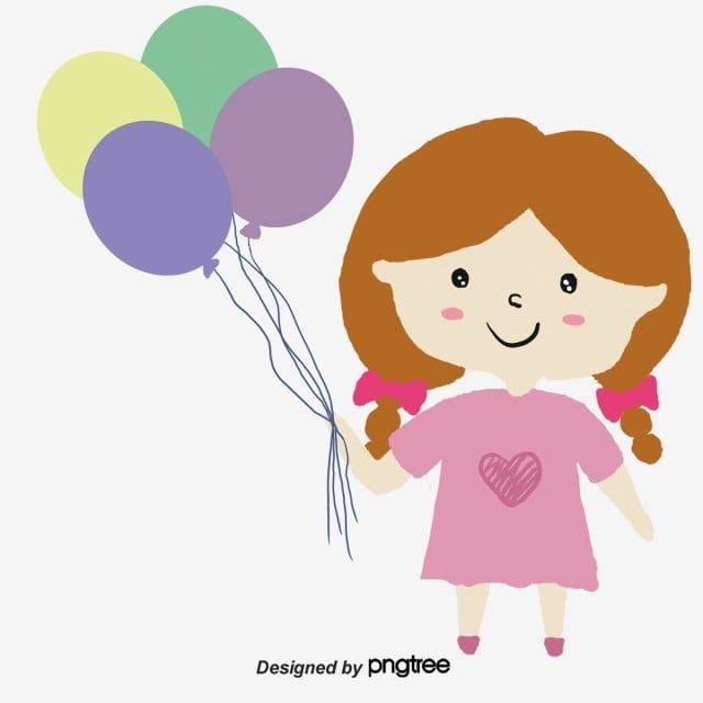فتاة صغيرة تحمل بالون الكرتون ناقلات فتاة صغيرة Clipart فتاة ناقلات صغيرة Png وملف Psd للتحميل مجانا Balloon Cartoon Cartoons Vector Cartoon