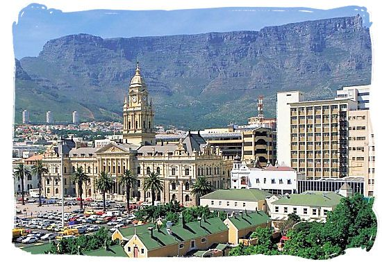 The Grand Parade with the City Hall of Cape Town and the Table Mountain in the back ground - South Africa