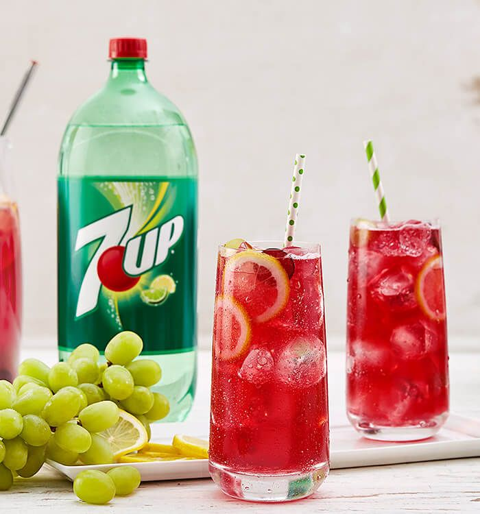 Try a twist on a classic. A Grape Lemonade Cooler made with 7UP® is sure to please everyone at the party.
