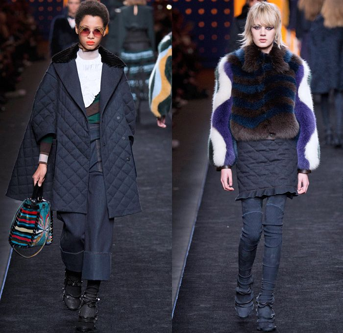 Fendi 2016-2017 Fall Autumn Winter Womens Runway Catwalk Collection Looks - Milan Fashion Week Milano Moda Donna Italy - 1960s Sixties Mod Ruffles Waves Thigh-High Boots Flowers Floral Embroidery Sheer Chiffon Blouse Oversized Outerwear Coat Furry Shaggy Plush Quilted Vest Wide Leg Denim Jeans Leggings Stripes Leather Skirt Accordion Pleats Bomber Jacket Blazer Velvet Maxi Dress Tiered Shorts Handbag Purse Clutch