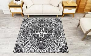 Ethnic Style Nylon Carpet, Black and White Square Floor Carpet and Rugs