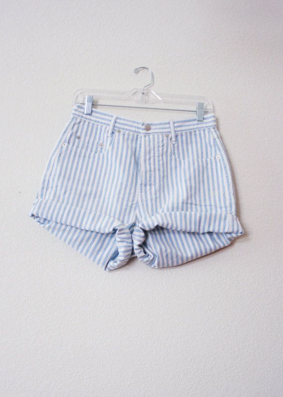 perfect for my vacation job as deckhand or powder monkey!...GUESS Blue & White Striped High-Waisted Shorts