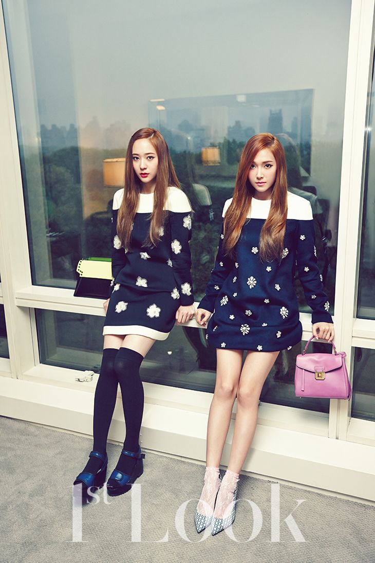 Check out the latest Jung Sister photo shoot for 1st Look ... F(x) Krystal And Jessica