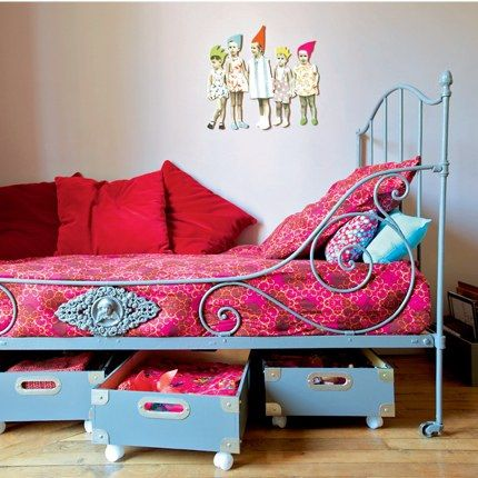 yes. dresser drawers or wood crates with wheels on the bottom for extra toy/blanket/clothing storage under the bed. Doing this!