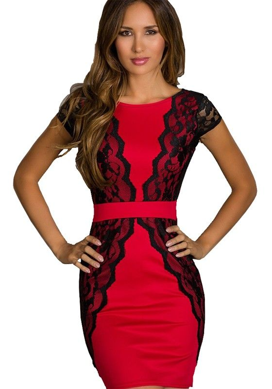 Red + Black! Sexy Black Lace and red Above Knee Skinny BodyCon Party Dress #Sexy #Red #Black #lace #Party #Dress