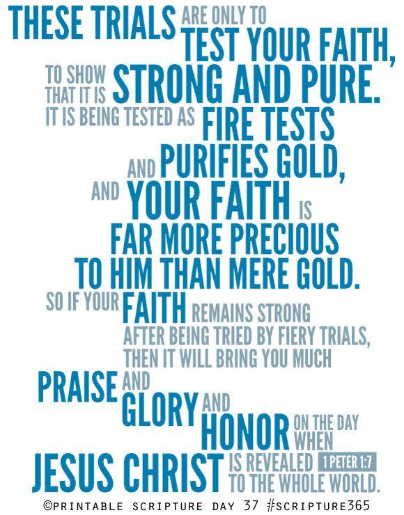 1 Peter 1:7. Tested Faith. 8x10.  DIY. Printable Christian Poster. PDF. Bible Verse.. $6.50, via Etsy.