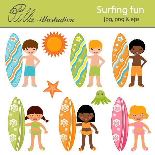 This cute Surfing fun clipart set comes with 9 cliparts featuring boys and girls holding up surfboards. You get a boy and a girl with brown hair, a boy and a girl with blond hair and  African-American boy and girl, a star fish, a jelli fish and a sun.