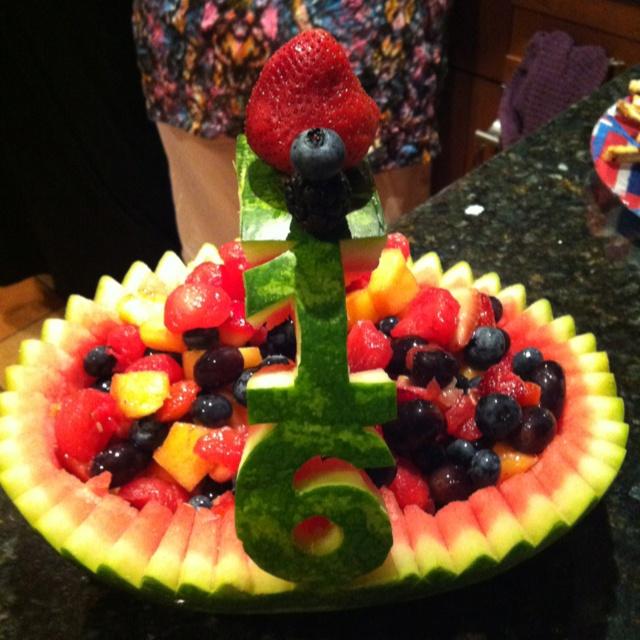 Watermelon boat for a 16th birthday.   Watermelon / fruit ideas   Pi ...