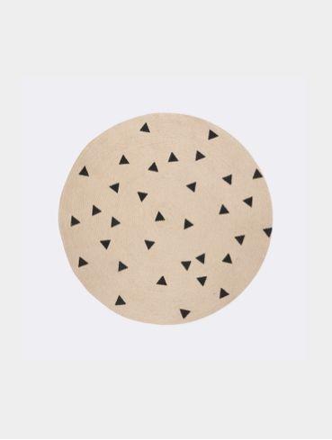 Jute Carpet - Black Triangles