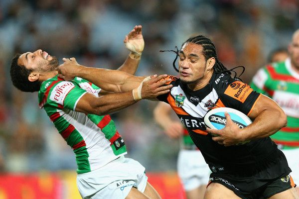 Martin Taupau Photos: Tigers Coach Jason Taylor Looks on at the Tigers v Rabbitohs Game in Sydney