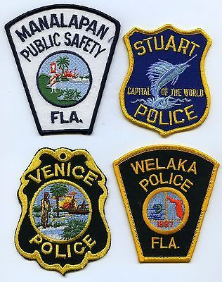 Lot of (4): Manalapan, Stuart, Welaka & Venice FLORIDA Police Patches