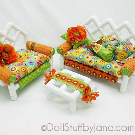 Pattern for living room furniture for American Girl Dolls made out of PVC. - 1202 Best Images About AG -18 Inch Doll House, Furniture, Decor On