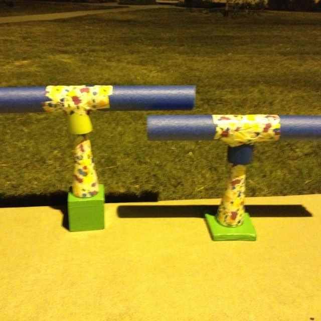 Homemade hurdles using cones, foam noodle, duct tape and coozie PE teacher made material