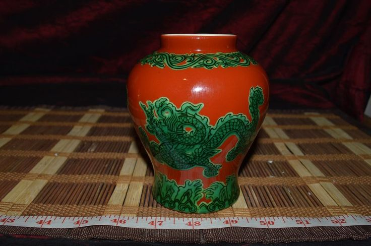 "Asian Porcelain Red Vase w/ Green Dragons 5""x4"" Marked"