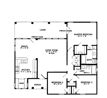 Three Bedroom Cottage (AFLLGW00150) | Small Ranch Home Plan