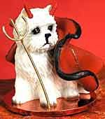"""Westie Devil Figure, from Dogstuff.com. Because they're not always angels! Our breed figure celebrates a little devilment with horns, pitchfork and a cape. Approx. 2"""" tall."""
