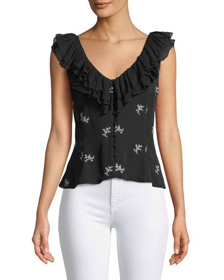 a8dce58d70aa17 Gia Embroidered Ruffle Top by cinq a sept at Neiman Marcus