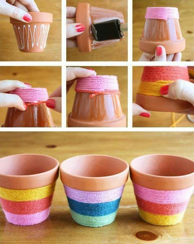 Potes de plantas + lãs coloridas