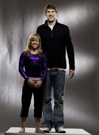 Shawn Johnson and Michael Phelps (talk about your height difference lol)