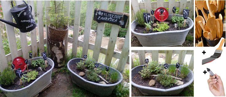 herb garden ideas bylinková zahrádka - zápichy ke kytkám= staré plechové vaničky+vařečky+černá barva+bílý popisovač voděodolný.