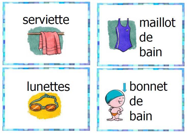 piscine étiquettes, mur de mots, vocabulaire