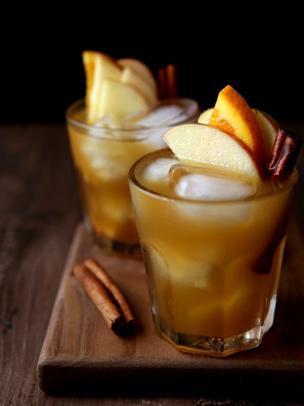 Apple Cider Old-Fashioned Cocktail. Use less bourbon, more cider, and maybe less sugar next time. So autumnish and delicious!