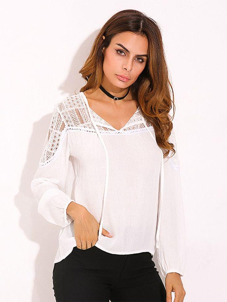 Women Blouse Long Sleeve Lace Trim Tie V-neck Shirt Long sleeve blouse Blouses for women