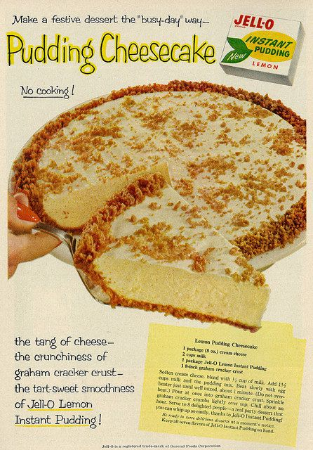 1958 Food Ad, New Jell-O Lemon Instant Pudding, with Lemon Pudding Cheesecake Recipe | Flickr - Photo Sharing!