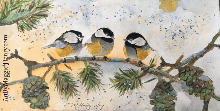 Watercolor.. Chickadees, coffee clutch.. Available