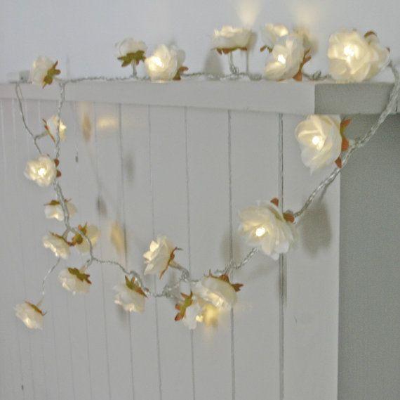 Longer White Shabby Rose Fairy Lights  perfect by PamelaAngus, €25.00