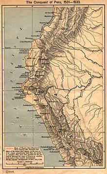 Map depicting the route of Pizarro from Panama to Cuzco