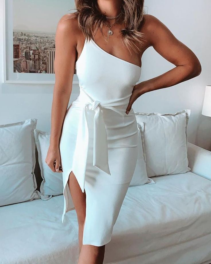 One Shoulder Slit Midi Dress