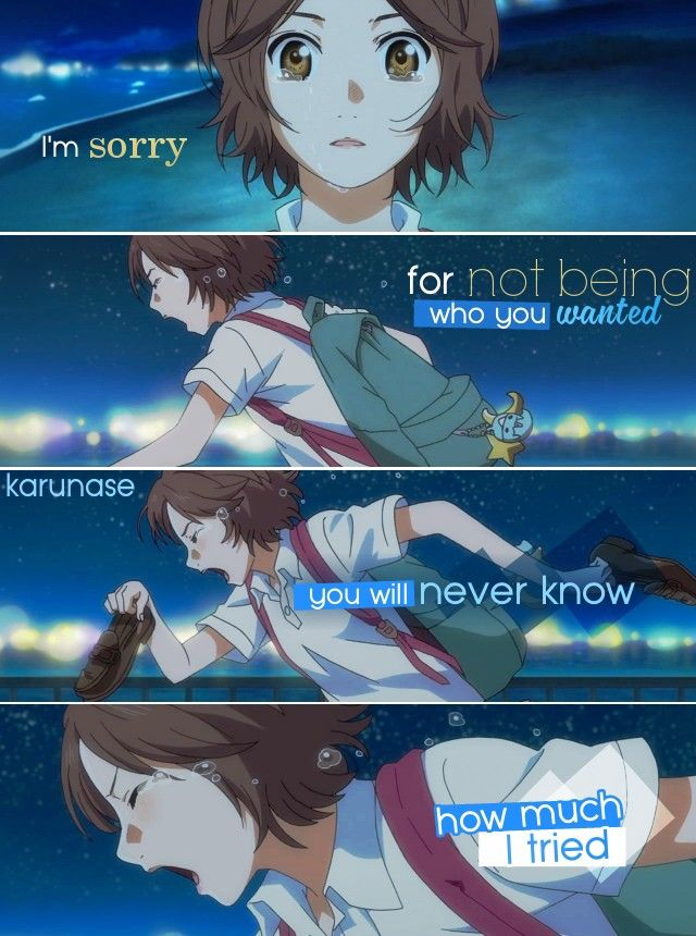 """""""I'm sorry for not being who you wanted, you'll never know how much I tried.."""" 