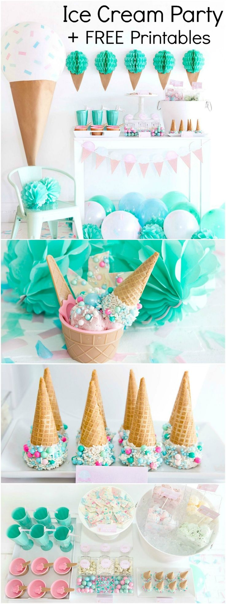 Ice Cream Party - Mint, Pink, and Aqua Party - Birthday Party + Printables