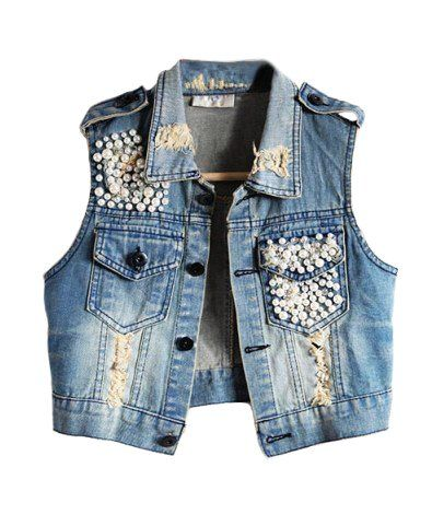 studded and destroyed denim vest  so cute with the embellishment on the  pocket · CustomisationStrassFilsBroderieTricotBricolageFemme EssayerEmbellissements e58543ba56b2