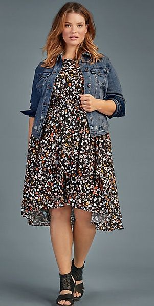 Plus Size Hi-Lo Dress I like the swing in the skirt and the small floral print. Don't really care for the color.