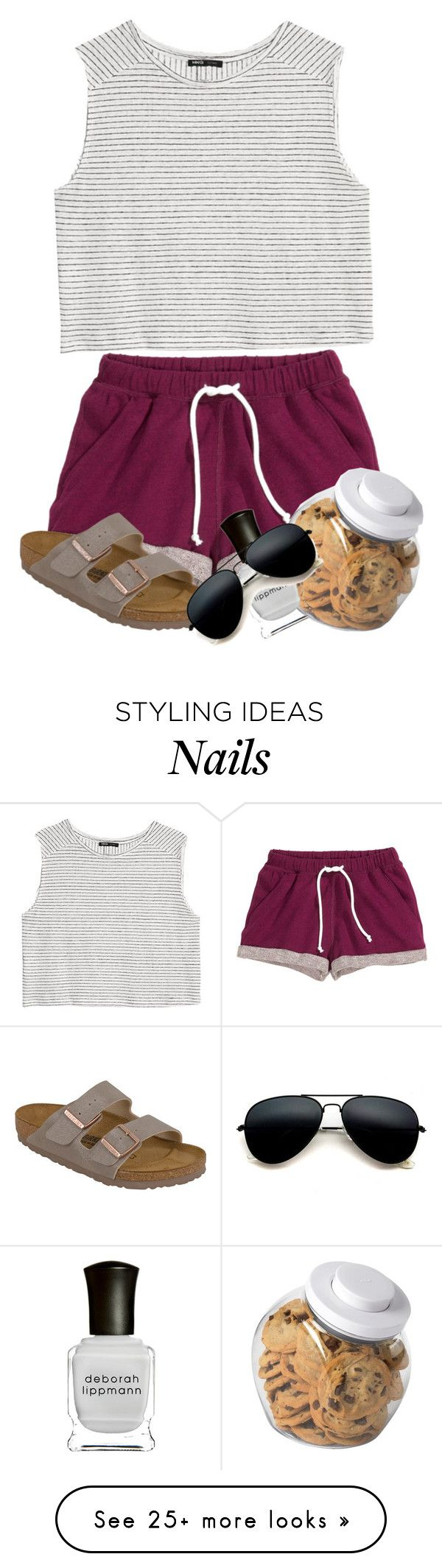 """Comf"" by heyymaisey on Polyvore featuring H&M, MANGO, Birkenstock, OXO and Deborah Lippmann"