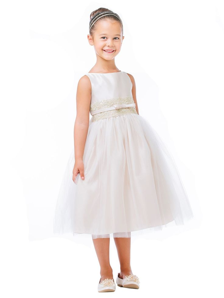 Champagne Satin and Tulle with Metallic Lace Flower Girl Dresses (Size Infants-12) SKU : SK473CH