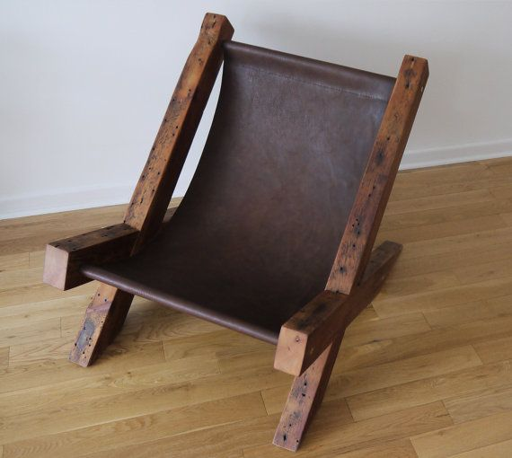 Reclaimed Wood and Leather Lounge Chair. Handmade Lounge Chair. Hand Stitched…