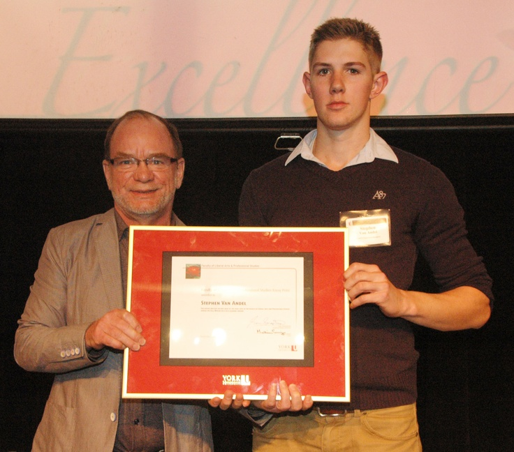 Stephen Van Andel, right, winner of the Best Essay Prize at the 2000 Level, with John Spencer, Chair of the Writing Department.