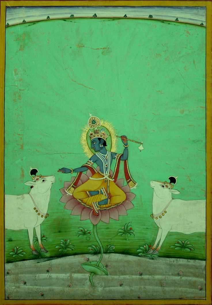 Venugopala: Krishna sits on a lotus flower, an adoring cow at either side. Bikaner royal library stamp, by Ustad Hasan in 1766