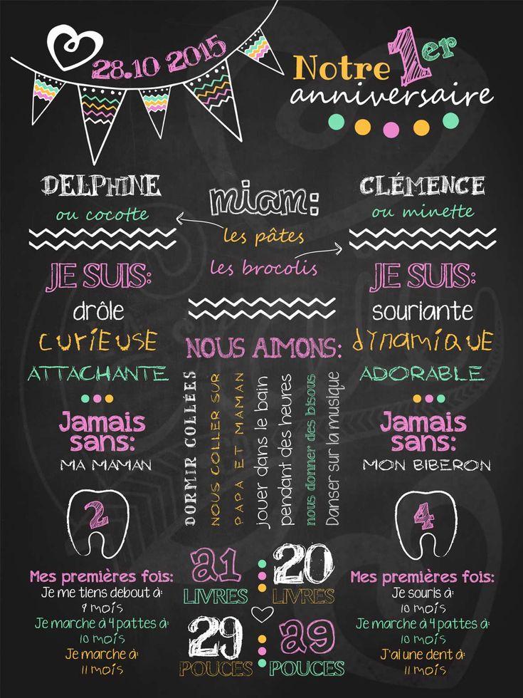 Affiche personnalisée 1er anniversaire Fêtons en duo (rose)   40,00$ #chalkboard #lacraieco #jumeaux #fanions